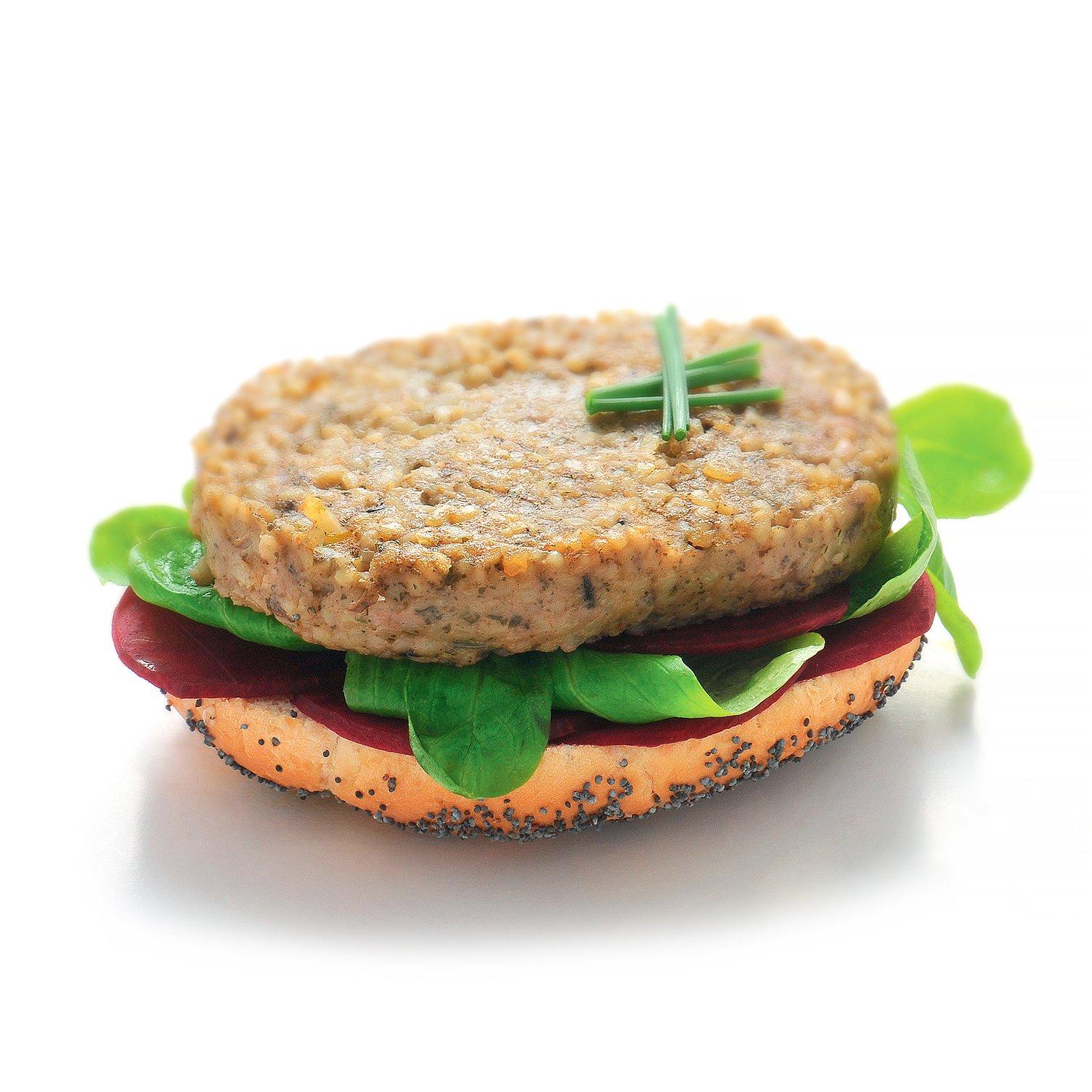 Burger avec galette végétale au boulgour et champignons persillade