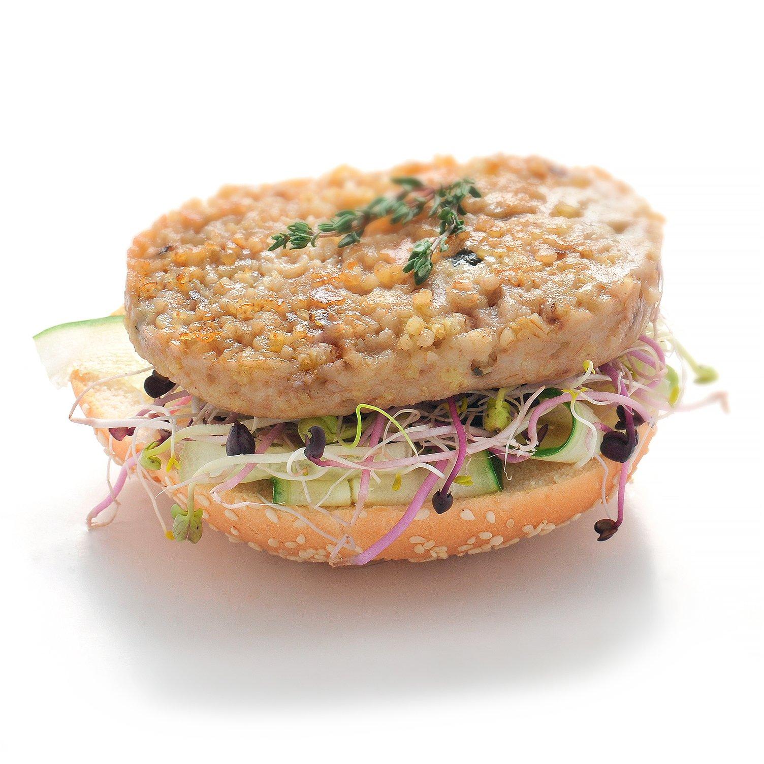 Burger avec galette végétale au boulgour chèvre miel