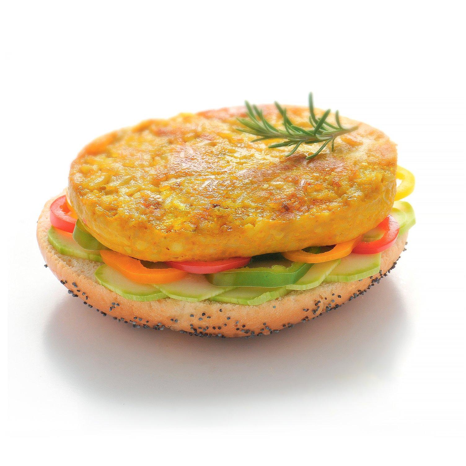 Burger avec galette végétale au riz façon paëlla