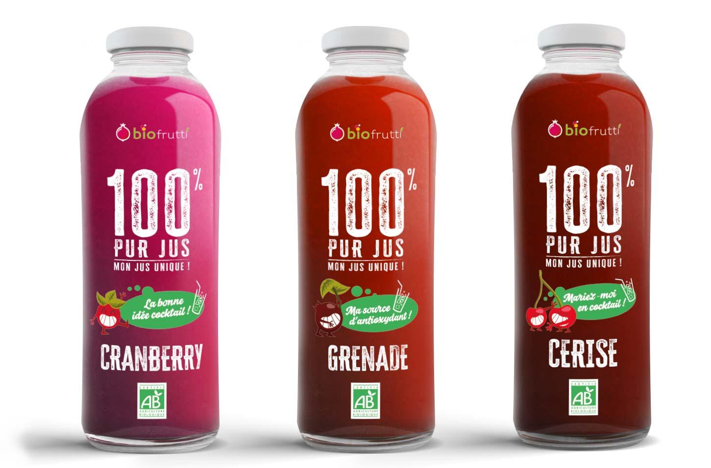 Cranberry grenade cerise 100% pur jus Biofrutti