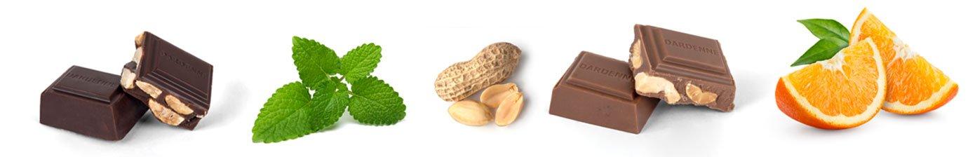 Menthe, cacahuètes, orange, carrés de chocolats Dardenne