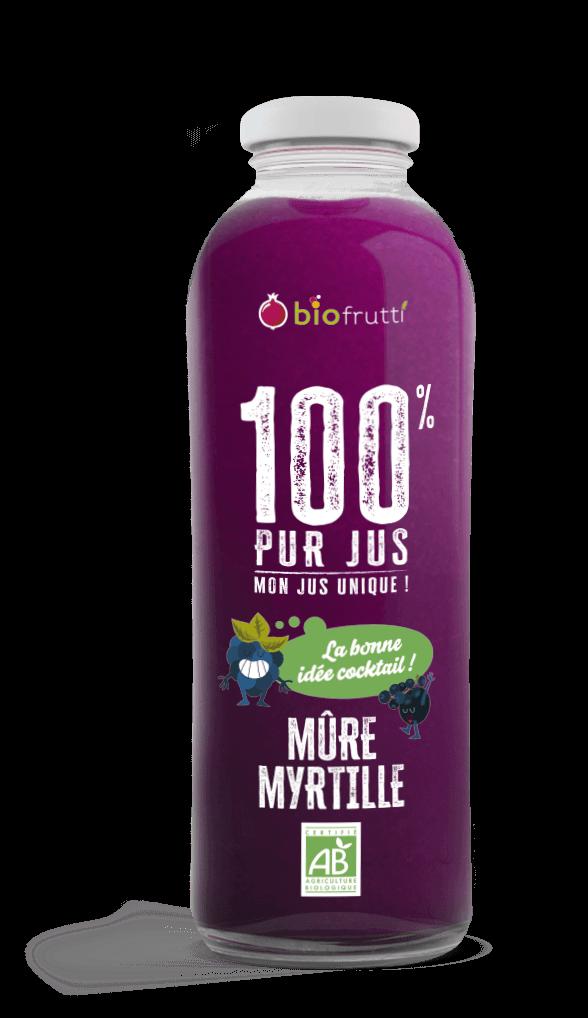 Bouteille 750 ml Mûre myrtille 100% pur jus Biofrutti