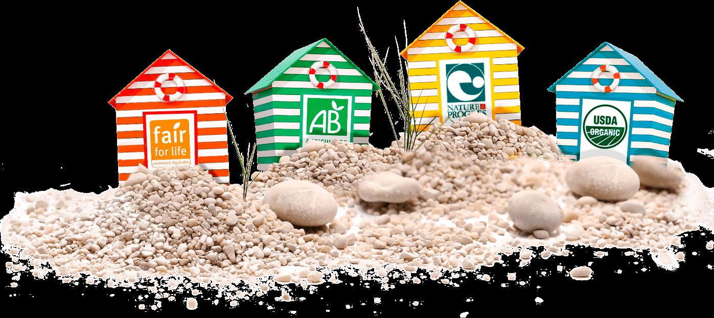 Cabines de plage et label et logos bio