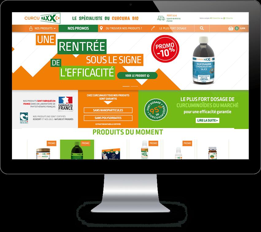 Écran Home page Curcumaxx