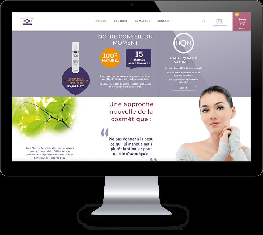 Home page site E.commerce HQN Cosmétique