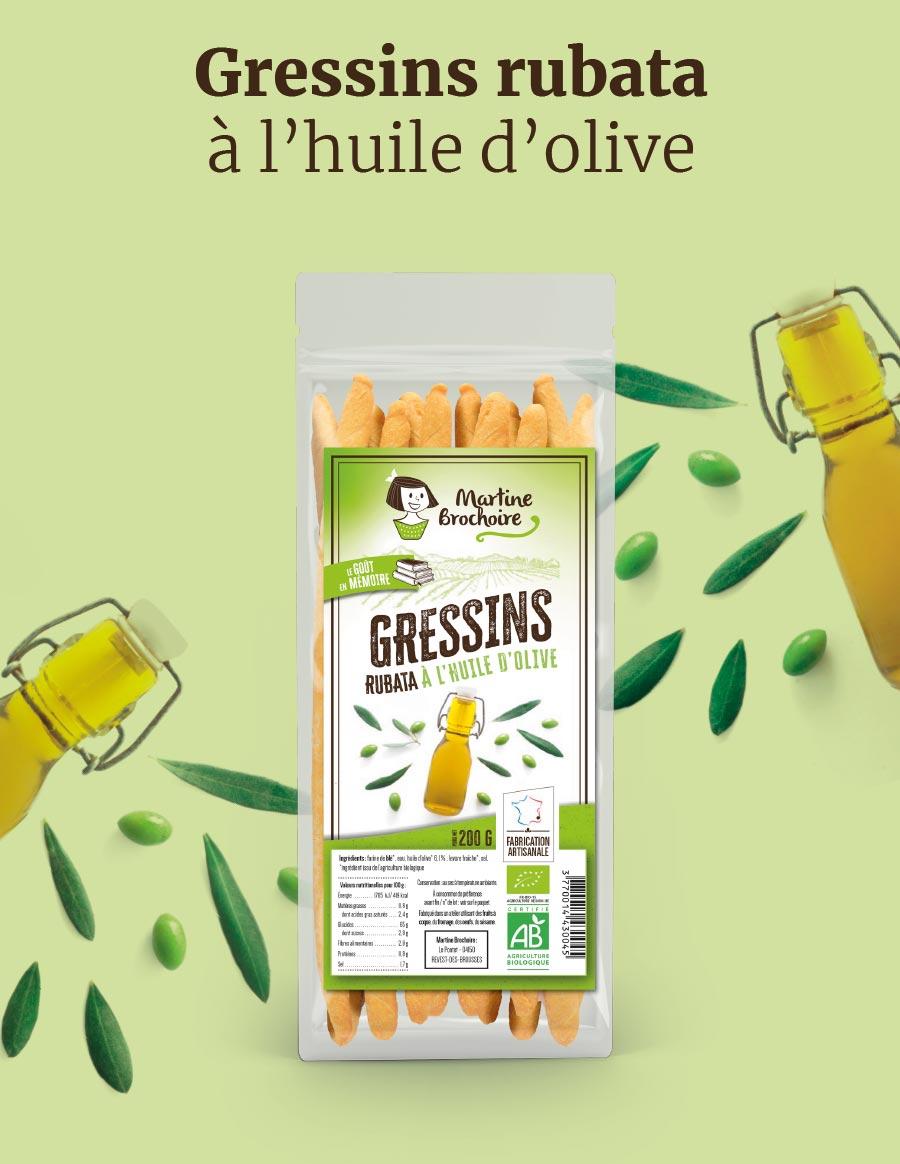 Gressins rubata à l'huile d'olive Martine Brochoire