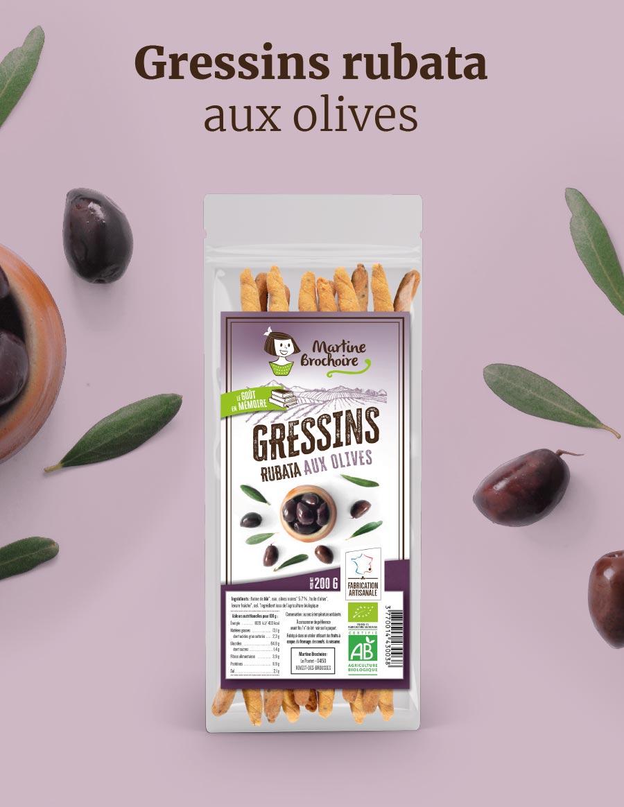 Gressins rubata aux olives Martine Brochoire