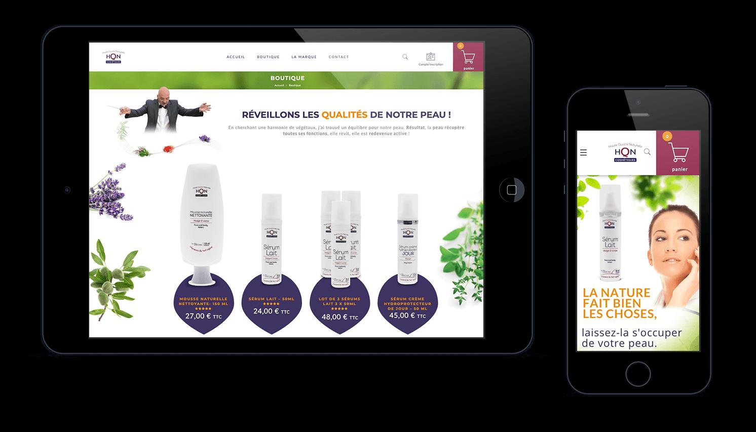 Pages mobile et tablette site E.commerce HQN Cosmétique