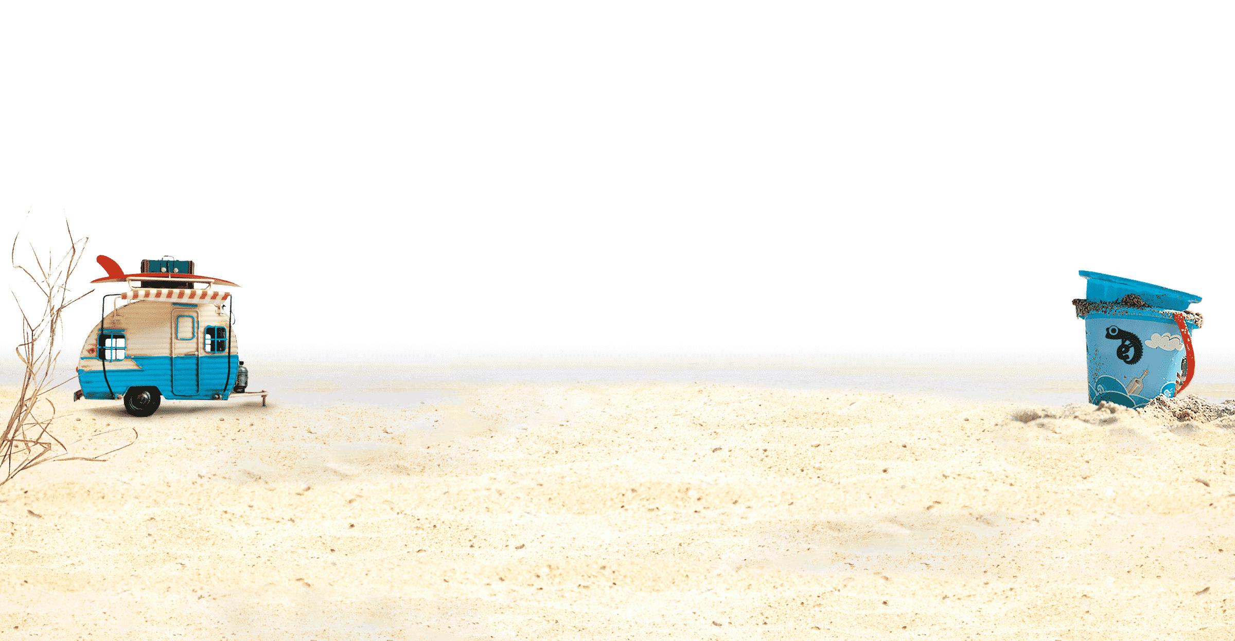 Fond sable seau et caravane
