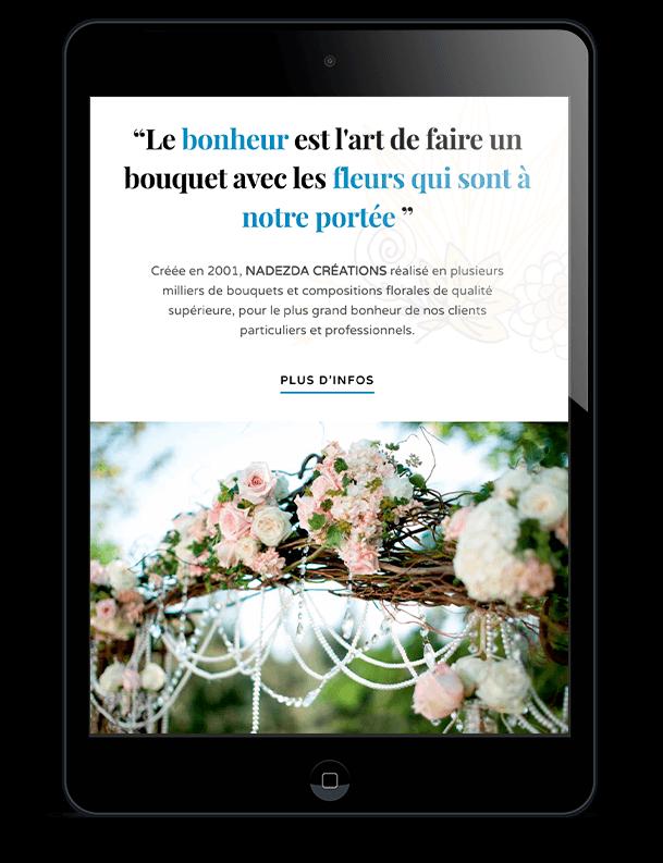 Home Fleurs Création sur tablette verticale